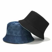 Fisherman Hat Denim Double-sided for Unisex Tie-dye Outdoor Summer Bucke... - $11.99