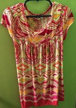Philly Retro Girl's Sz. 7 Abstract Medallions Tunic Top Dress Fushia Lime Red Or - $12.69