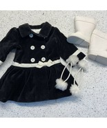 American Girl Doll Clothes Lot Black Velvet Coat White Boots Fur Hair Ties - $24.73