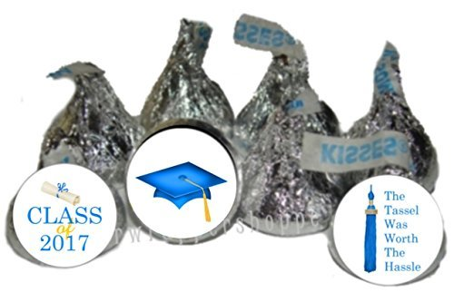 2017 Blue Graduation Party Favors Kiss Labels Candy Wrappers 216