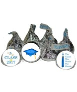 2017 Blue Graduation Party Favors Kiss Labels Candy Wrappers 216 - $12.61