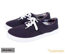 Black Men's Canvas Shoes Lace Up Casual Sneakers Kicks Originals Lowtop Footwear - $19.01 CAD