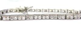 Corte Redondo Diamante Natural Oro Blanco Juego Canal Tenis Pulsera 14KT... - $4,157.96