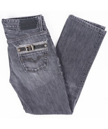Guess Lincoln Slim Straight Mens Jeans Leather Detail Grey Wash Size 29x29   - $32.31