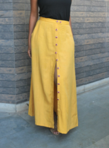 Custom Made Mustard Yellow Hand Embroidered Button down A-Line Linen Skirt - $55.00