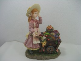 Montefiori Collection Resin Statue Figurine Girl Fruit Wheelbarrow Model... - $23.33