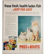1954 Print Ad PUSS'n BOOTS Cat Food Mother & 2 Fluffy Kittens - $13.93