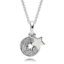 925 Sterling Silver Celebration Stars Necklace with Clear Zircon QJCB-NC031 - $48.99