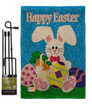 Happy Bunny Burlap - Impressions Decorative Metal Garden Pole Flag Set GS103029- - $33.97