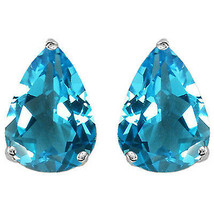 1.50 - 2.50CT Womens 14K White Gold Pear Shape Blue Topaz Stud Earrings ... - $40.91+