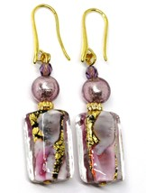 PENDANT EARRINGS PURPLE MURANO GLASS RECTANGLE TUBE GOLD LEAF, MADE IN ITALY image 1