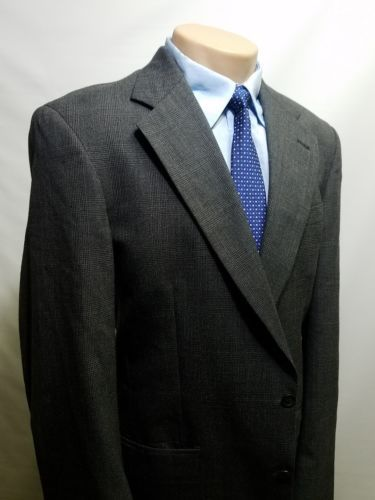 TOMMY HILFIGER MEN'S SPORT COAT 40L GRAY TWO-BUTTON SINGLE VENT MADE IN USA