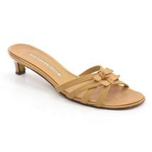 PLINER M DONALD Elastic Spain Slides Ladies Knot Tan Shoes size J SANDALS 7 0xwxq5rz