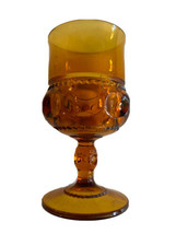 Indiana Kings Crown Thumb Print Amber Depression Wine Glasses Goblets - $4.45