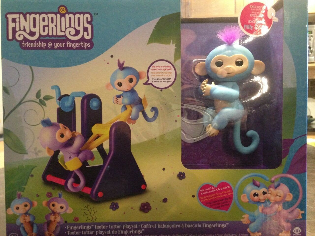 Fingerlings Playset See-Saw with 2 Fingerlings Baby Monkey Toys Willy & Milly