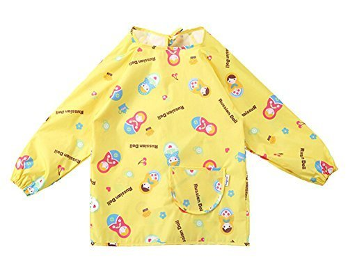 New YELLOW Doll Waterproof Sleeved Bib Kids Painting Smock (110-130CM Height)