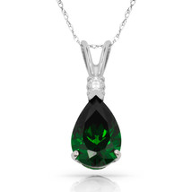 3.05 CT Emerald Pear Shape 2 Stone Gemstone Pendant & Necklace 14K W Gold - $147.51
