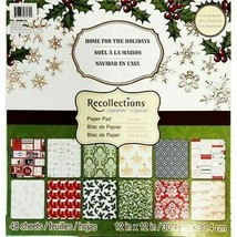 Recollections Home for the Holidays 12x12 Cardstock Paper Pad, 48 Sheets