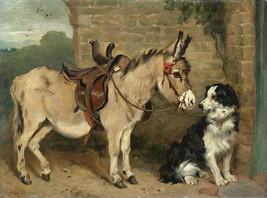 John Emma, Ready for the Morning Ride, Donkey, mule, black white Dog,  a... - $18.99
