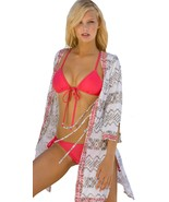 $275 Letarte Embroidered Koi Tie Front Tunic Swimsuit Coverup NWT Medium - $133.64