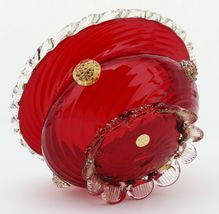 Venetian Glass Ruby Footed Bowl with Rigaree Trim and Rossette Gems 1950s image 5