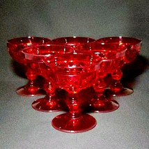 6 (Six) FENTON PLYMOUTH RUBY Art Deco Champagne Glasses DISCONTINUED - $122.54