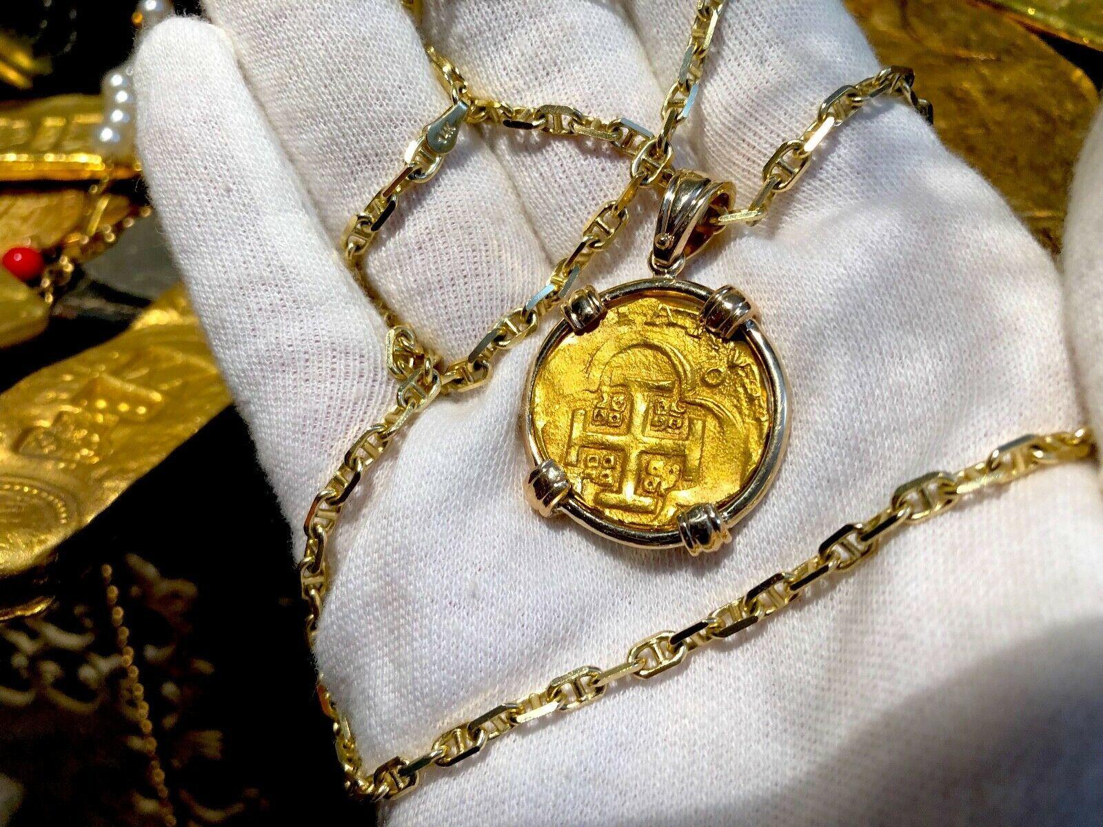 SPAIN 4 ESCUDOS 1630-47 TREASURE JEWELRY NECKLACE PENDANT PIRATE GOLD COIN