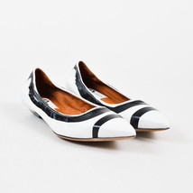 Lanvin NIB White Black Leather Printed Pointy Toe Ballerina Flats SZ 41 - $505.00
