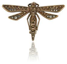 Roberto Cavalli Brass Swarovski Embedded Dragonfly Brooch~RTL$795 - $94.05