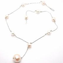 Collar Oro Blanco 750 18K, Perlas Blancas y Rosa 16 mm, Cadena Colgante ... - $701.34