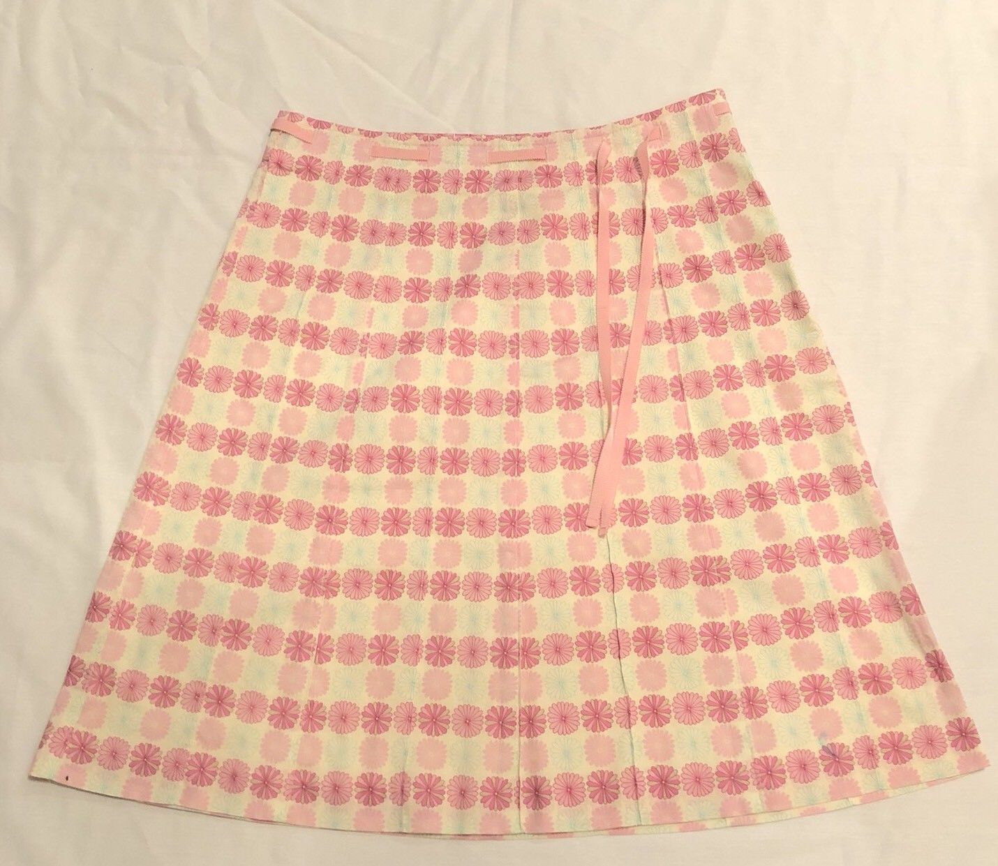 J. Crew Pink Floral Cotton Size 6 Skirt A Line to the knee Ribbon
