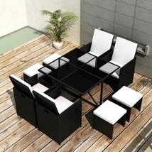 vidaXL Outdoor Dining Set 21 Piece Poly Rattan Wicker Black Garden Table... - £312.10 GBP