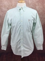 Polo Ralph Lauren Classic Fit Long Sleeve Oxford Shirt Green Stripe 15.5... - $25.69