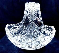"Clear Crystal Basket vase Handle Floral & Berry Starburst cut Pattern 8"" tall - $64.35"