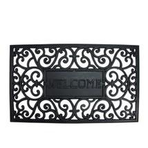 TizTheSeasons Rubber Welcome Black Outdoor Door Mat  - $25.64