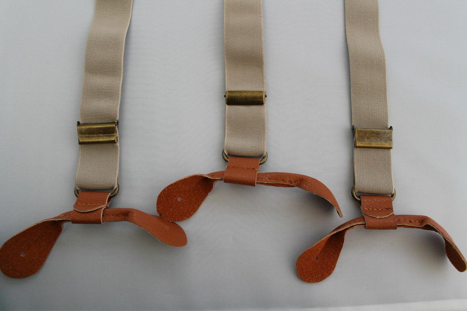 Beige Unisex Suspender Braces Adjustable Leather Button Holes Lycra/Elastane UK image 4