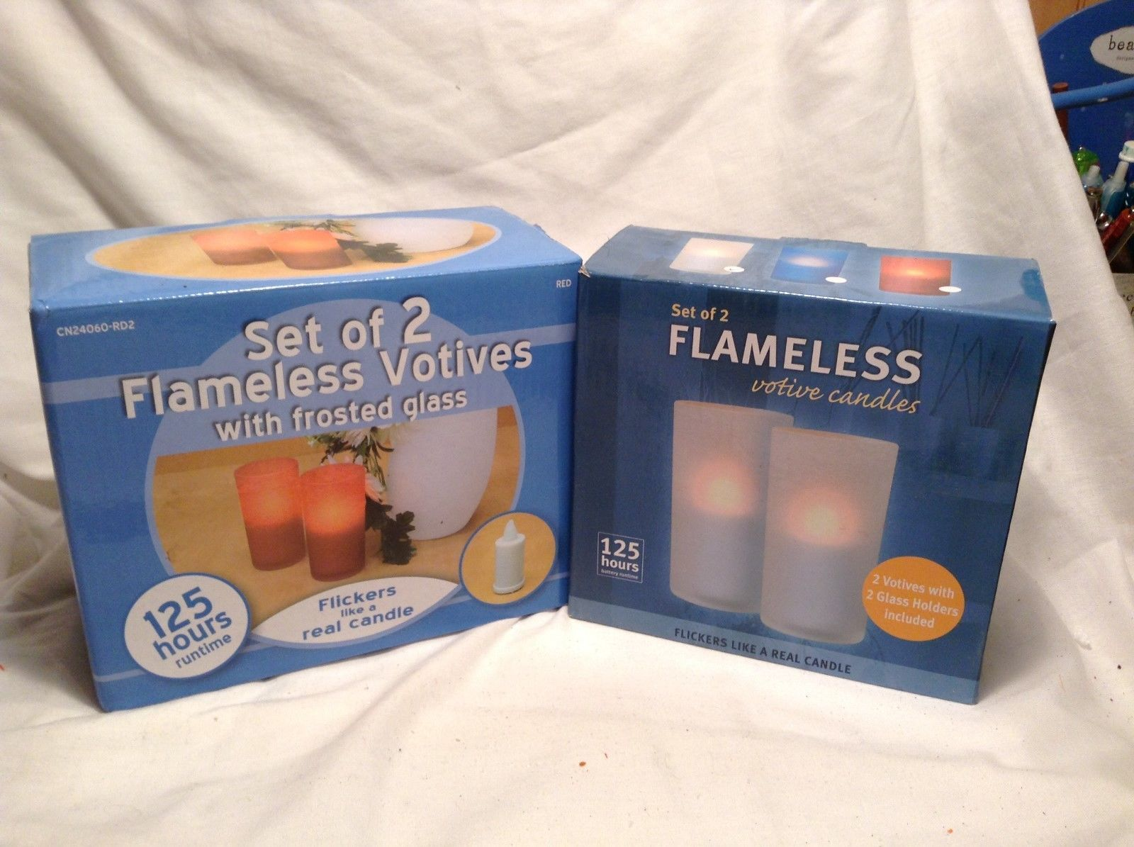 NEW Set of 2 Flameless Frosted Votive Candles