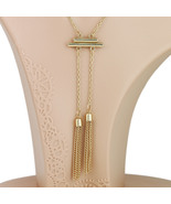 UE- Contemporary Designer Inspired Gold Tone Necklace with Stylish Tassels - $15.99