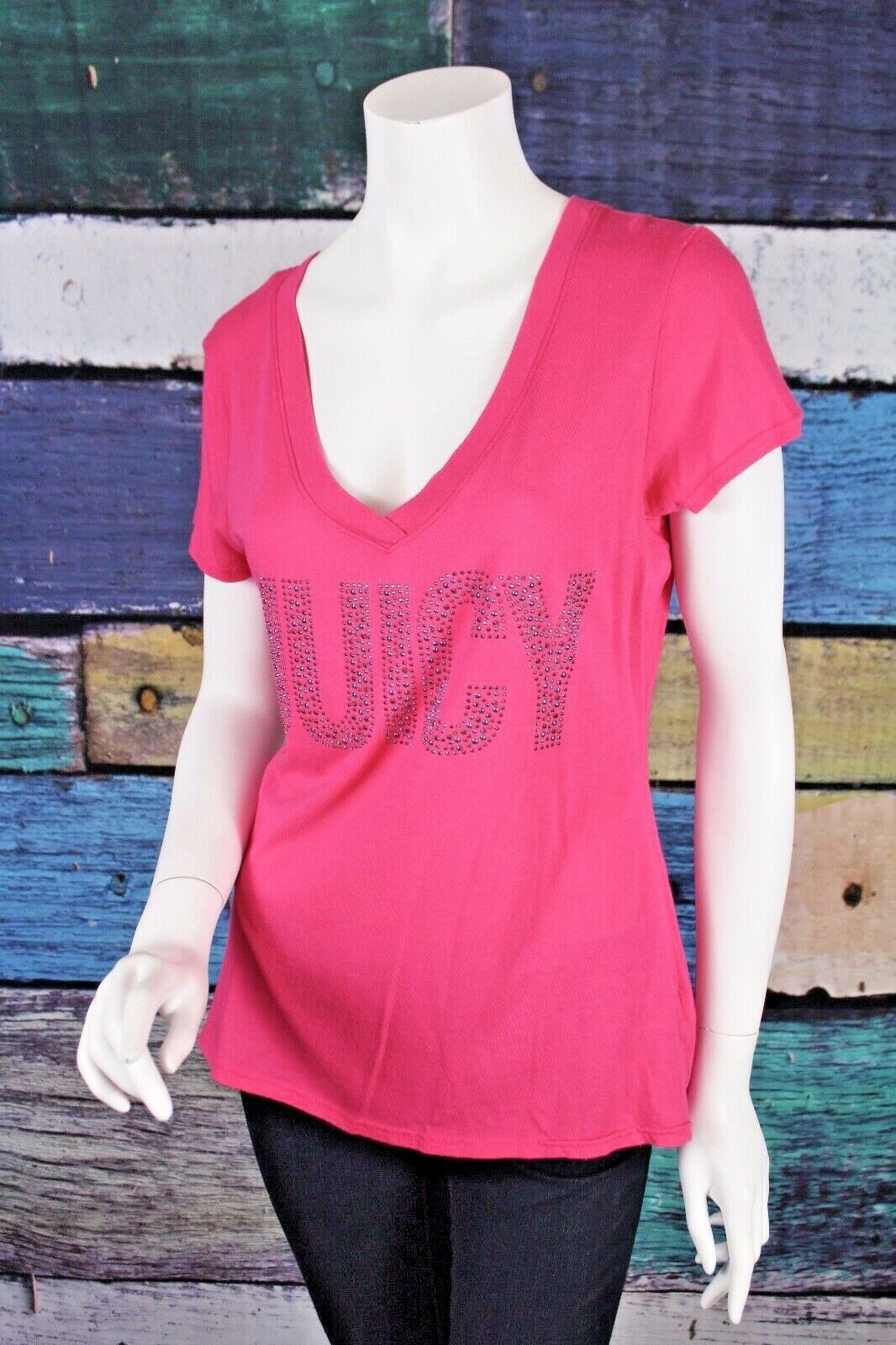 Primary image for Juicy Couture Large L Pink Cotton Modal Bling Rhinestone Embellished T-Shirt Tee