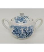 Enoch Wedgwood Countryside Pattern Sugar Bowl w/Lid Blue & White China E... - $39.59