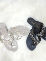 Guess bundle of 2 pairs thong sandals rhinestones size 10 - $30.35 CAD