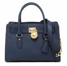 MICHAEL KORS HAMILTON NAVY BLUE GOLD SAFFIANO LEATHER EW SATCHEL BAG $29... - $198.00