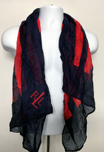 Ralph Lauren Scarf navy blue with red stripes 100% cotton Made in USA 26... - $28.66