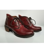 Pikolinos Womens Burgundy Wedge Bootie Leather Ankle Boots Size Europe 37 - $89.99