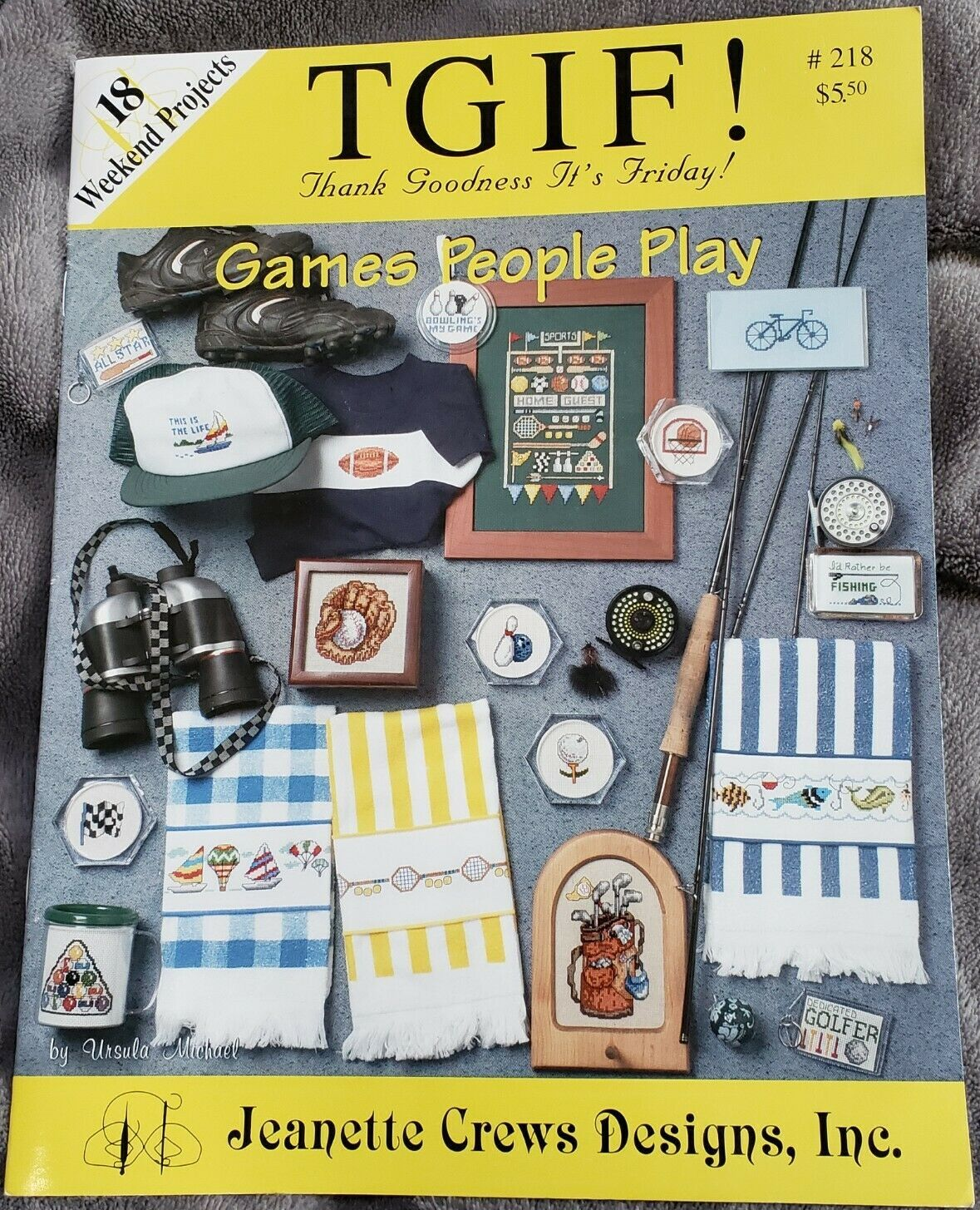TGIF Games People Play 18 Hobby Cross Stitch Patterns Book #218 Jeanette Crews