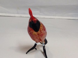Hand Blown Glass Bird made in USA Red Cardinal