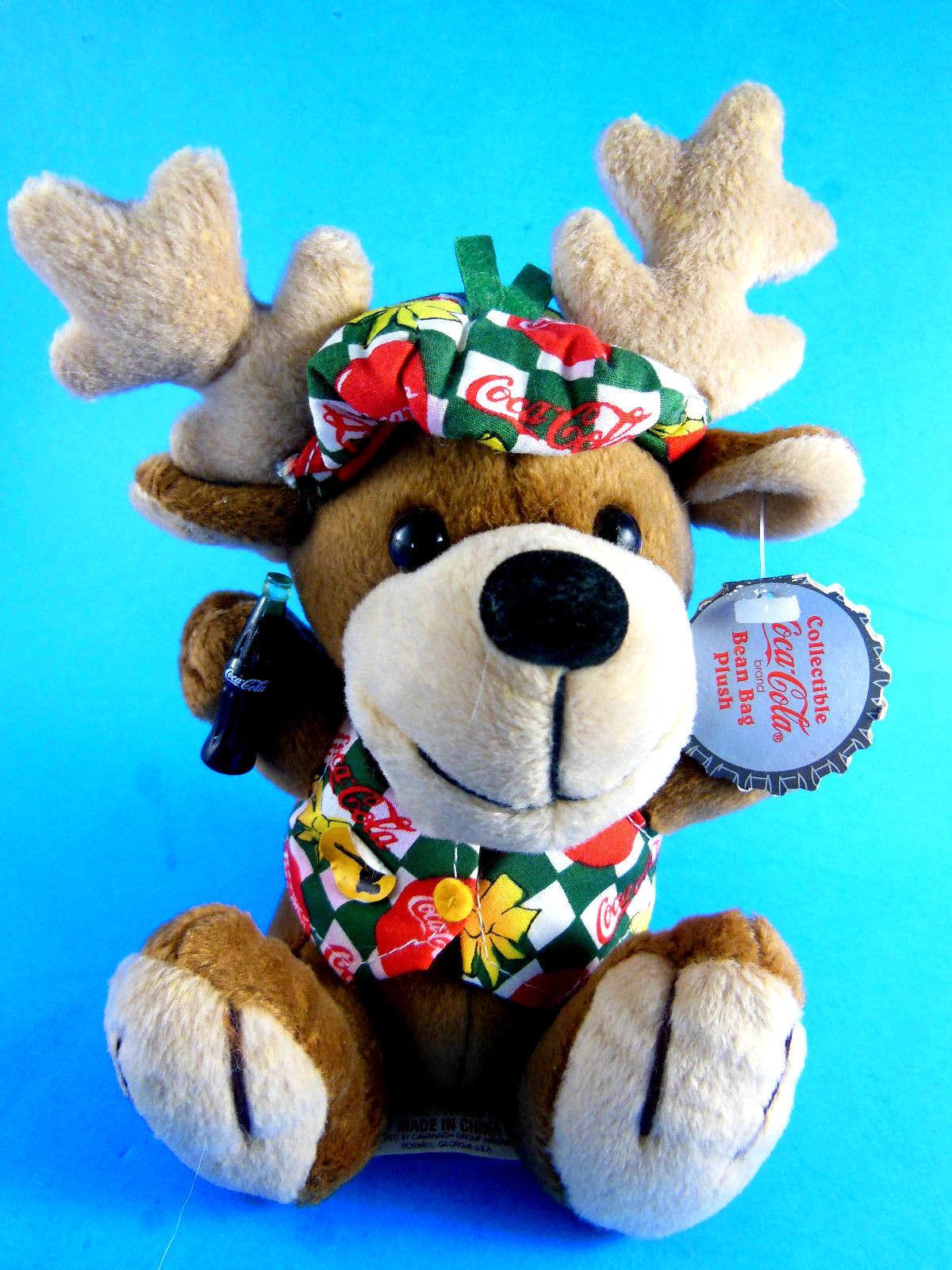 """Rare 1998 Reindeer w Vest & Hat Cap COCA COLA BEAN BAG PLUSH 7.5"""""""