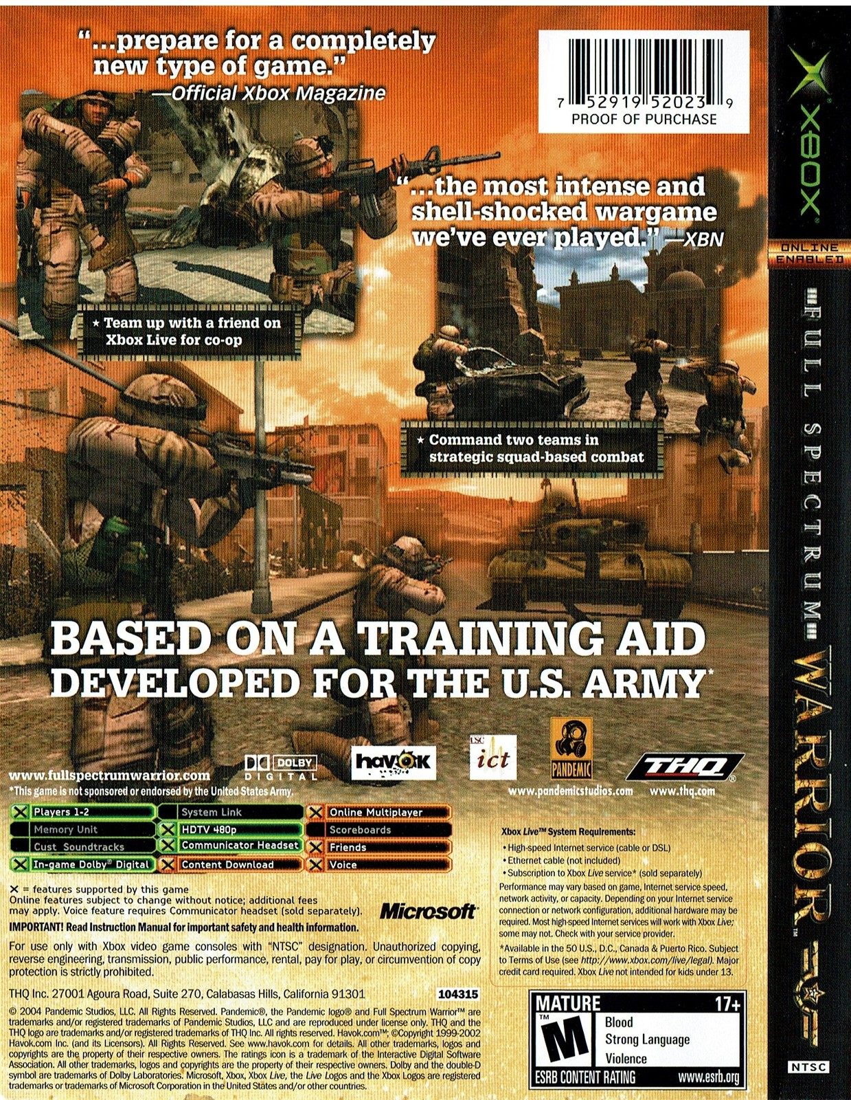 Full Spectrum Warrior, Original Game, Xbox Live Online Enabled, NTSC