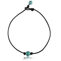 Barch Young Single Turquoise Chokers for Womam on Black Leather Cord Nec... - $12.76