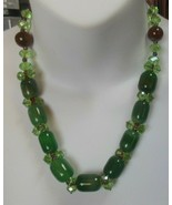 Vintage Green & Brown Glass Bead Necklace W/Seed Beads - $55.00